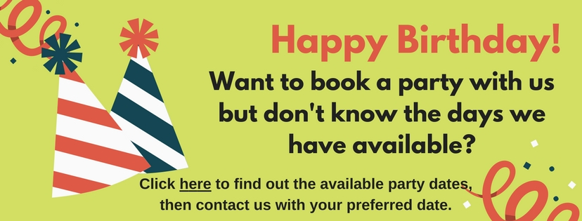 Birthday Party Availability March 2018